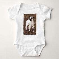 Sepia Beautiful Baby Lamb Farm Countryside Sweet Baby Bodysuit