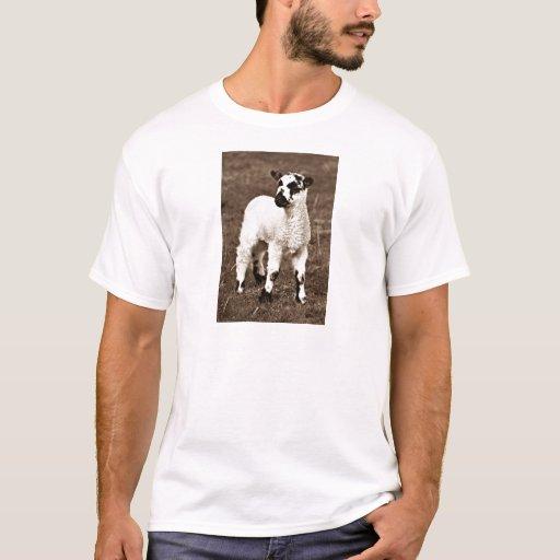Sepia Beautiful Baby Lamb Farm Countryside Sweet T-Shirt