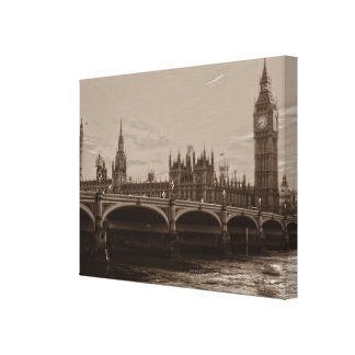 Sepia Big Ben Tower Palace of Westminster Canvas Print
