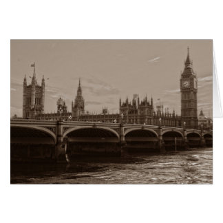 Sepia Big Ben Tower Palace of Westminster Card