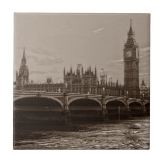 Sepia Big Ben Tower Palace of Westminster Ceramic Tile