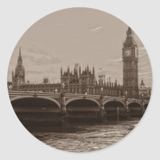 Sepia Big Ben Tower Palace of Westminster Classic Round Sticker