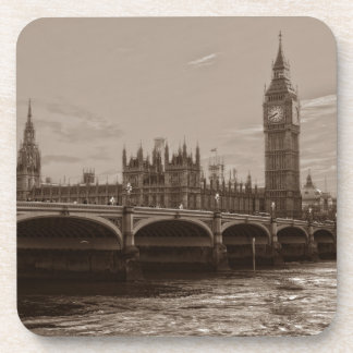 Sepia Big Ben Tower Palace of Westminster Coaster