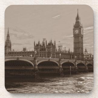 Sepia Big Ben Tower Palace of Westminster Coaster