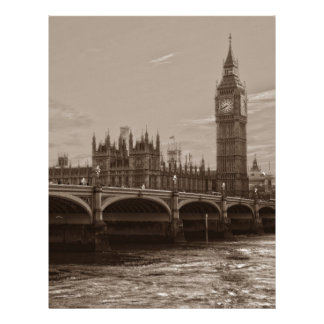 Sepia Big Ben Tower Palace of Westminster Letterhead