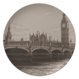 Sepia Big Ben Tower Palace of Westminster Plate