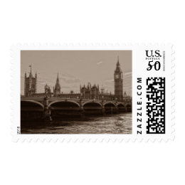 Sepia Big Ben Tower Palace of Westminster Postage