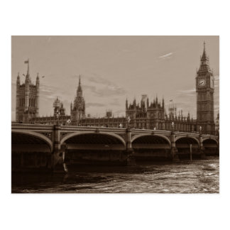 Sepia Big Ben Tower Palace of Westminster Postcard
