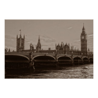 Sepia Big Ben Tower Palace of Westminster Poster