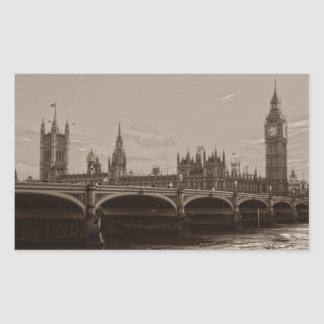 Sepia Big Ben Tower Palace of Westminster Rectangular Sticker