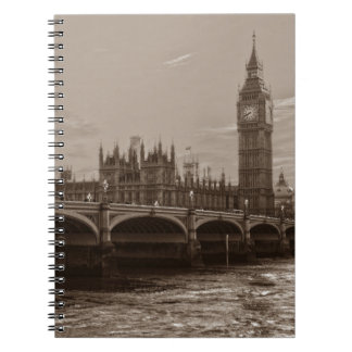 Sepia Big Ben Tower Palace of Westminster Spiral Notebook