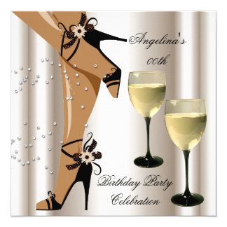 Sepia Black Shoes Wine Glass Birthday Party 5.25x5.25 Square Paper Invitation Card