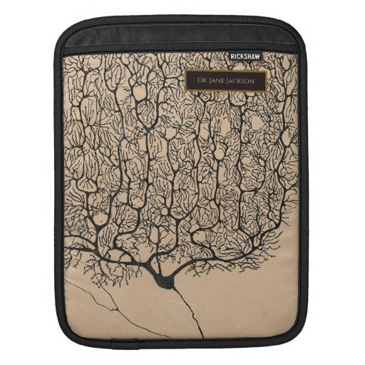 Sepia Black Vintage Neuron Drawing Neurology Name iPad Sleeve