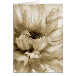 Sepia blanca y fondo poner crema de la dalia modif tarjeta de felicitación