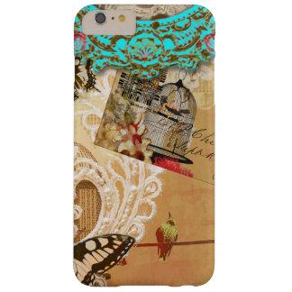 Sepia bonita de la turquesa de la mariposa del funda barely there iPhone 6 plus