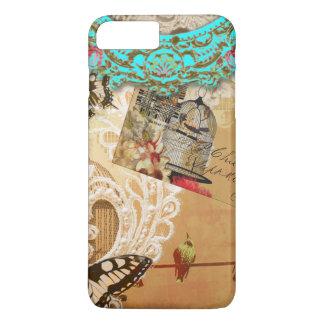 Sepia bonita de la turquesa de la mariposa del funda iPhone 7 plus
