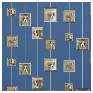 Sepia Boxer Puppy Dogs on Blue Fabric