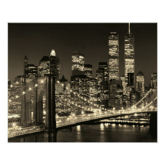 Sepia Brooklyn Bridge New York Night Poster
