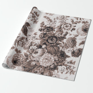 Sepia Brown Black White Vintage Floral Toile No.3 Wrapping Paper
