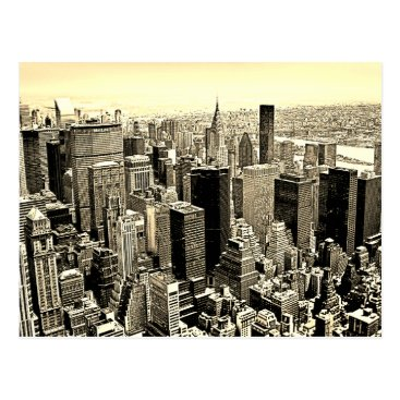 USA Themed Sepia Brown New York City Old Style Postcard