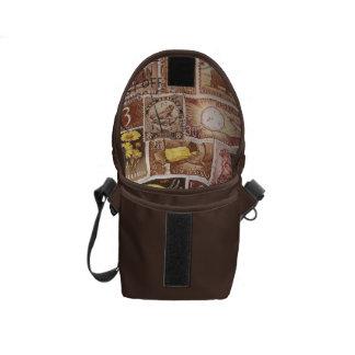 Sepia Brown Small Travel Bag, Postage Stamp Art Messenger Bag