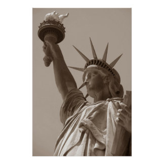 Sepia Brown Statue of Liberty New York City Poster