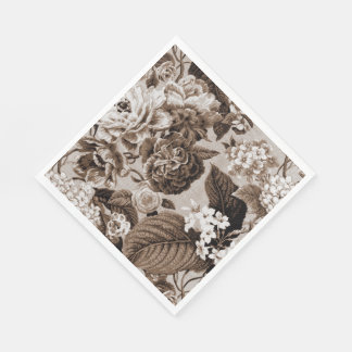 Sepia Brown Vintage Floral Toile Fabric No.1 Napkin