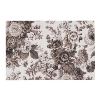 Sepia Brown Vintage Floral Toile No.3 Placemat