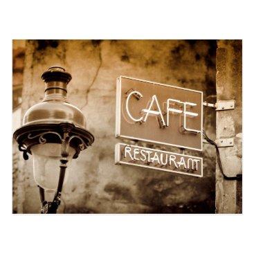 Professional Business Sepia cafe sign, Paris, France Postcard