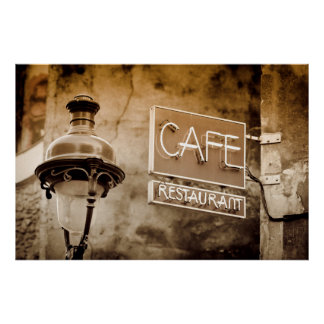 Sepia cafe sign, Paris, France Poster