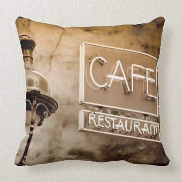 Professional Business Sepia cafe sign, Paris, France Throw Pillow