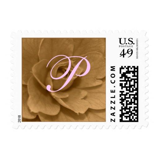 Sepia Camellia Blossom, Monogram Postage Stamps