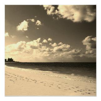 Sepia Castle Beach Poster
