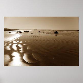 Sepia Cayucos Beach Print