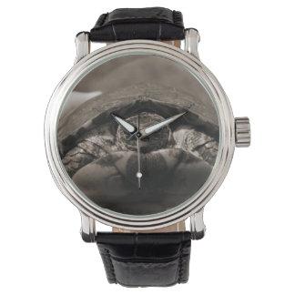 Sepia centrada de madera adornada de la tortuga a reloj de mano