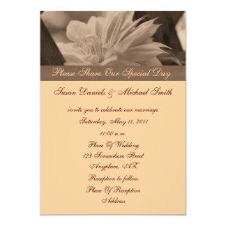 Sepia Clematis Flower Wedding Invitation