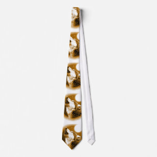 Sepia Color Lonely Wolf Howling at Moon Neck Tie