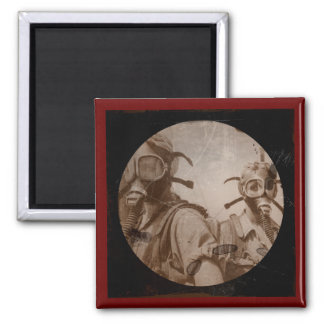 Sepia Colored Gas Mask Girls 2 Inch Square Magnet
