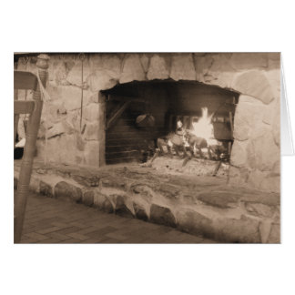 Sepia Country Fireplace Photo Card