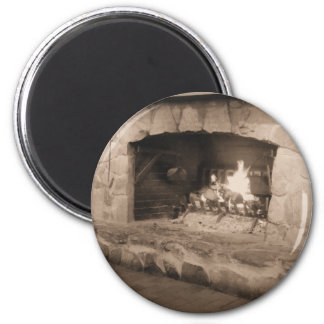 Sepia Country Fireplace Photo Magnet