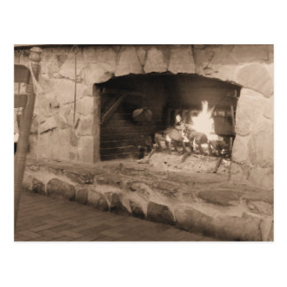 Sepia Country Fireplace Photo Postcard