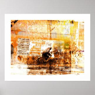 Sepia cyclist. print