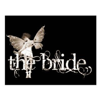 Sepia de hadas del vestido blanco - la novia postales