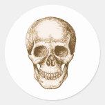 Sepia de la cara del cráneo pegatina redonda
