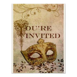 Sepia de la invitación del renacimiento invitación 10,8 x 13,9 cm