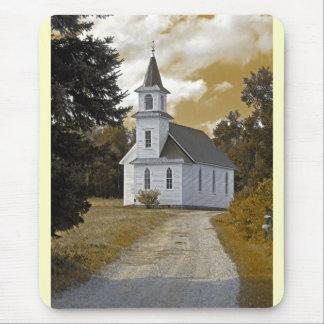 Sepia de los 1800s de la iglesia presbiteriana de mouse pad
