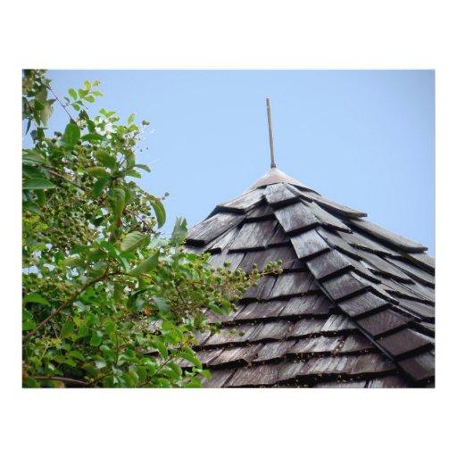 Sepia de madera del árbol del cielo de la cúpula d flyer a todo color