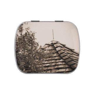 Sepia de madera del árbol del cielo de la cúpula frascos de caramelos