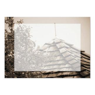 """Sepia de madera del árbol del cielo de la cúpula invitación 5"""" x 7"""""""