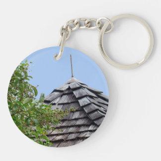 Sepia de madera del árbol del cielo de la cúpula llavero redondo acrílico a doble cara